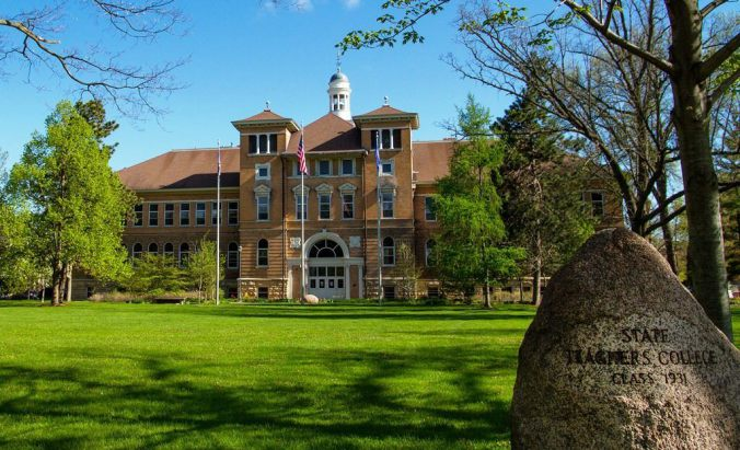 UWSP main building in spring